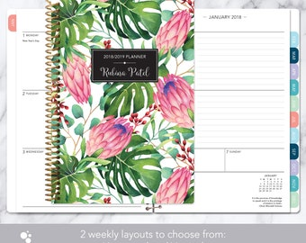 2018 planner | 2018-2019 calendar | weekly student planner add monthly tabs | personalized planner agenda daytimer | tropical floral