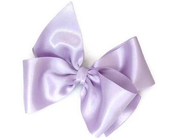 """Lilac Hair Bow 5"""" Lavender Satin Hair Accessory Light Purple Flower Girl Sassyx Bow Seriously Sassyx Orchid"""