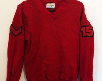 Vintage Varsity Sweater. Vintage Red Letterman Sweater. Vintage Cheerleader Sweater.