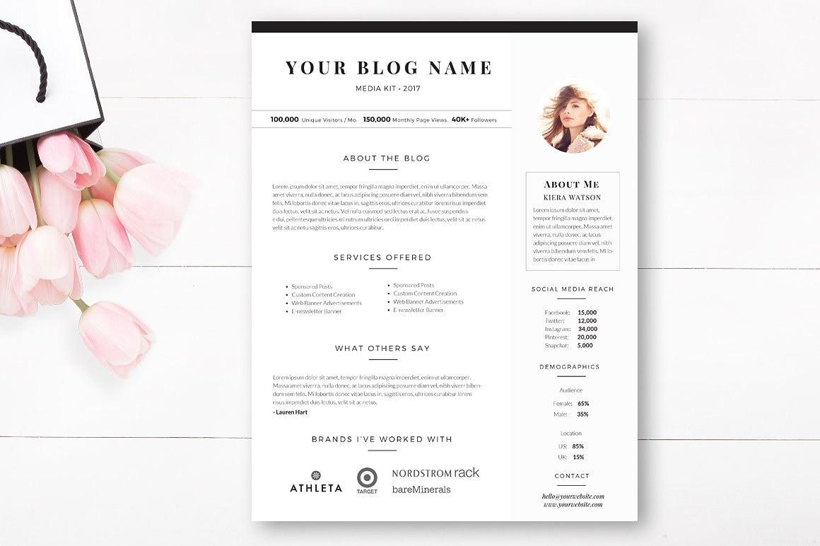 1 Seite Blog Media Kit-Vorlage Blogger Medien Pressemappe