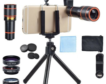 Cell Phone Camera Lens 4 In 1 12X Zoom Telephoto Lens Fisheye Wide Angle Macro Lens for iPhone X 8 8 Plus 7 7 6 Plus Samsung Galaxy s8 s6 s7