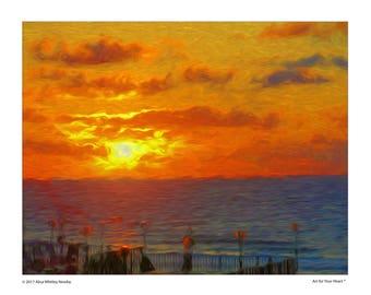 Digital download, Sunset print, beach print, sunset, beach, orange, impressionist, Van Gogh style, wall art, Art for home, home decor