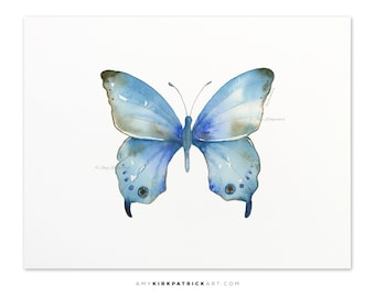Blue Butterfly Painting, Butterfly Print, Original Blue Butterfly Watercolor, Butterfly Greeting Cards, 109 Blue Diana Butterfly