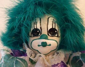 Vintage 1980's Q Tee Clown Sand Doll ~ Hand Painted Clown Doll ~ Green Rabbit Hair ~ Collectable Doll  ~ Child's Gift