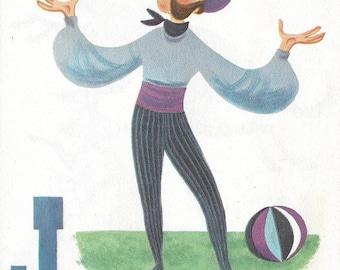 Vintage Mid Century Original Patric Hudson Illustration - Circus Alphabet