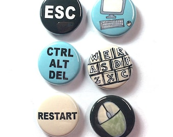 Computer Magnets or Pins - set of 6 fridge magnets, pinback buttons, keyboard, mouse, ctrl alt del, restart, geek geekery, office, nerd gift
