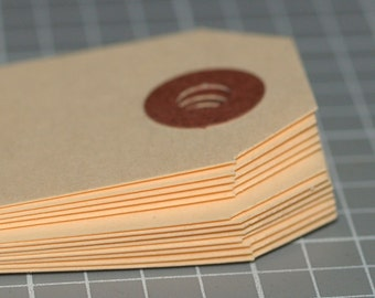 "Mini Manila Tags (50) ... 2-3/4"" x 1-3/8"" . Seller Supplies . Hang Tags . Price Tags . Shipping . Reinforced Hole . Size 1 . Plain . Blank"