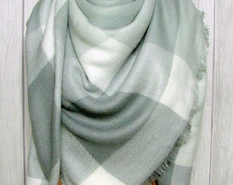 Blanket Scarf, Soft Gray, White,  Scarves for Women, Winter Accessories, Snow Gear Clothing, Elegant Holiday Gifts for Her
