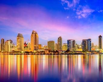 San Diego Skyline at Dusk on Canvas, Large Wall Art, San Diego Print, San Diego art, San Diego Photo, San Diego Canvas, 3 Panel Set