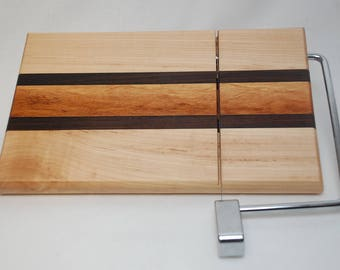 Handmade Maple, Cocobolo and Goncalvo Alves Cheese Slicer Cutting Board-