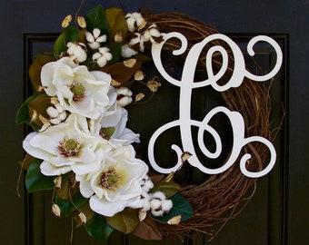 Monogram Wreath, Magnolia Wreath, Cotton Boll Wreath, Southern Wreath, Year Round Wreath, Spring Wreath, Summer Wreath, Door Wreath