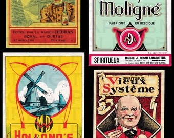 New Old Stock / Spirits Labels / Alcohol Labels / Digital Instant Download / Antique Print / Paper Ephemera / Antique Spirit Labels