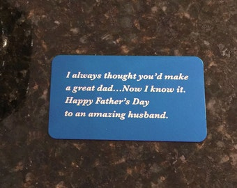 Personalized Wallet Card, Fathers day gift's, Custom Wallet Insert, Metal Wallet Insert, Wedding Gift, Red, Blue, Black, Father's day gift