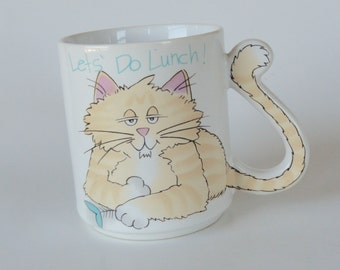 1 Vintage Cat Mug - Lets Do Lunch - Kitty Cat Lover Gift, Pussy Cat Cup, Kitten, Kids Birthday Gift Animal Lover Gift, Tabby Cat Tail Handle
