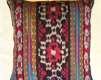 Handwoven high quality Ikat cushion cover handmade in Bali in small workshops.