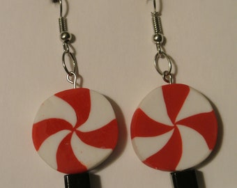 Red and White Peppermint with Black Square Bead and Silver Fishhook
