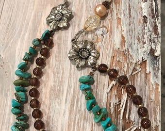 Vintage inspired multi strand necklace