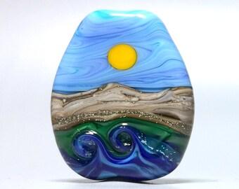 Seaside Waterscape - Handmade Lampwork Glass Bead Focal Pendant - SRA - USA