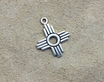 Zia Sun Charm Sterling Silver Pendant - New Mexico - Pueblo Native American Indian - Southwestern Jewelry - 3D - Bracelet Charm - Sunshine