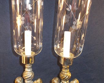 Great Pair Of Hurricane Mantle Lamps Brass And Glass