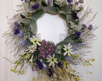 Beach Wedding Decoration/Large Beach Wreath/ Beach Party Decoration/ Wildflowers , Lavender,Roses, Hydrangea Wreath