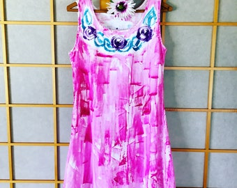 Hand Painted Dress Plus Size Floral Dress Cotton Cover Up Resort Wear Hawaii Dress