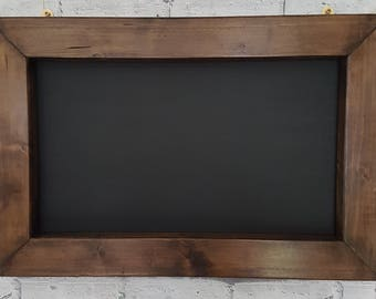 Solid Wood Wall Mounted Chunky Chalkboard Finished In Jacobean Dark Oak Wax