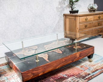 Hand Distressed Gothic Skull Coffee Table with Glass top