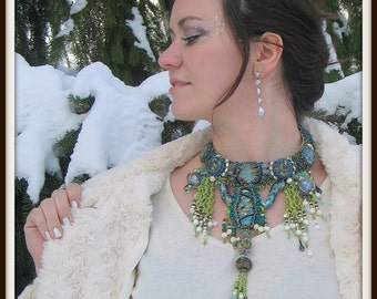 CLEARANCE Neptunes Tail Lampwork Semiprecious and Glass Bead Embroidery Necklace - Hannah Rosner - Haute Couture - Statement Necklace