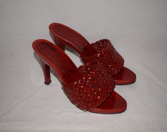 Vintage 90's Red High Heeled Mules
