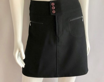 Vintage Women's 90's Esprit, Black Skirt, Polyester (M)