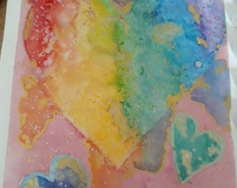 "Watercolour Colourful Rainbow Heart. ""Love is Beautiful"""