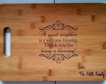 Personalized Family Lastname Bamboo Cutting Board Kitchen Welcome Neighbor Blessing Birthday Christmas Gift
