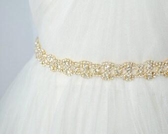 Gold Bridal Sash, Gold Wedding Belt, Gold Bridal Belt
