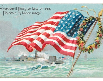Memorial Day Monitor and Merrimack Postcard, 1908