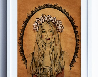Illustration ' The wound of my roses '. Print in A3, A4 and A5. Blade. Art. Illustration. Box.