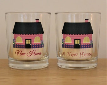 New Home Votive Holder and Tea Light - 4 House Styles and 2 Font Choices to choose from