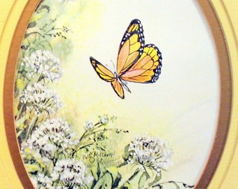 Vintage 1980's Framed Art - Butterfly and Queen Annes Lace Signed Print by Patti Milburn
