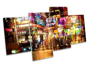 City Abstract Urban Modern Framed MULTI CANVAS PRINT Wall Art