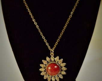 Vintage Silver Tone Red Turquoise / Color Rhinestones Pendant Necklace