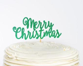 Merry Christmas Cake Topper, Christmas Cake Topper, Christmas Topper, Christmas Decor, Cake Topper, Glitter Cake Topper, Christmas
