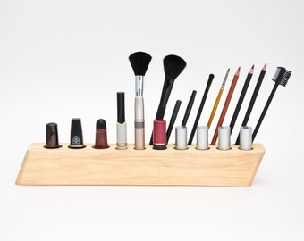 "Wood Makeup Organizer Cosmetic Organizer Makeup Brush Holder Lipstick Holder ""Big Scarlett"""