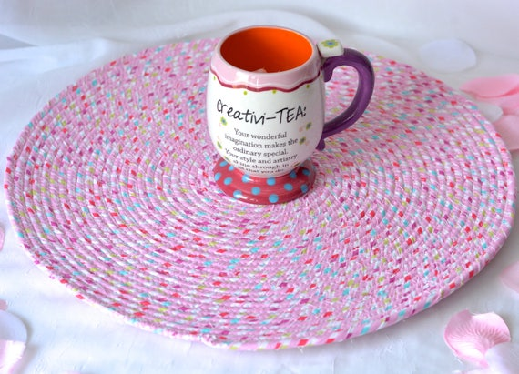 """Girl Place Mat, 16"""" Handmade Artisan Hot Pad, Table Mat, Pink Potholder, Quilted Fabric Table Topper, Candy Land Pink Trivet"""