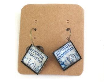 Postage stamp earrings