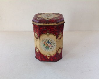 Vintage Tin Can / Pretty Octagonal Tin Can / Floral Lidded Old Tin Can