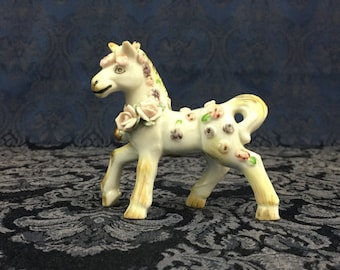 "Vintage Porcelain Horse Filly Figurine with Applied Pastel Flowers 4"" tall"