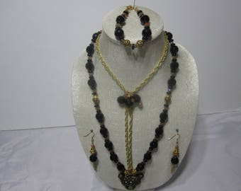Hand made leopard head necklace set