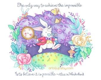 Alice in wonderland, print, disney, white rabbit, quote