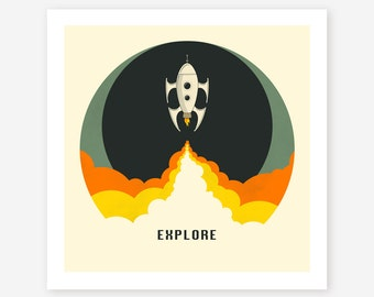 EXPLORE (Giclée Fine Art Print/Photo Print/Poster Print) Rocket Ship, Pop Art