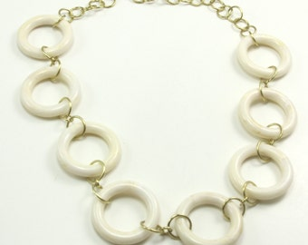 "Necklace, Vintage Ivory Color Plastic/Resin Open Circle Rings 22"" Adjustable Necklace, Artisan Designed and Crafted 